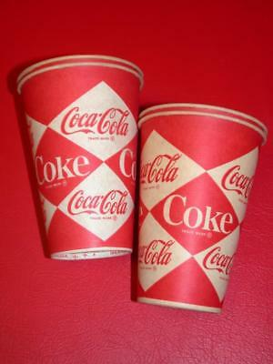 4 Vintage 1960's Coke Coca-Cola SODA 10oz Sweetheart PAPER CUPS  Old Store Stock