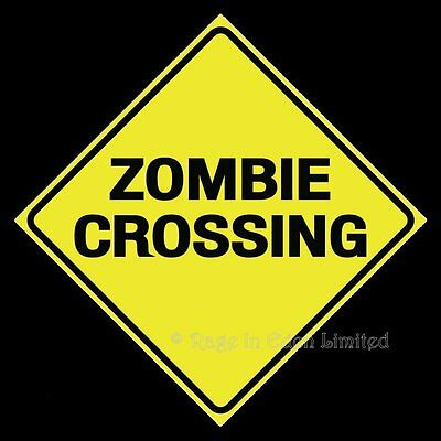 *ZOMBIE CROSSING* Halloween Metal Warning Sign By Nemesis Now (30X30cm)