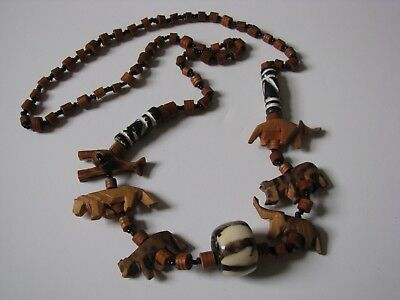 Vtg African Folk Art Souvenir Carved Animal Wood Clay Beads Necklace Jewelry 27""