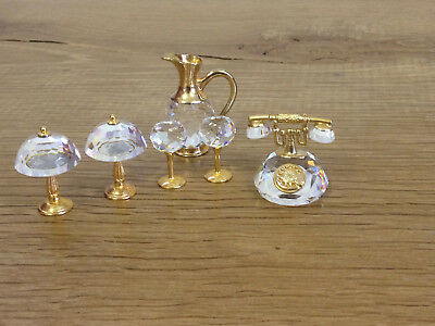 Dolls House Miniature Crystal 2 Lamps, 2 Wine Glasses, Jug and Telephone