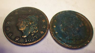 Large Cent Pieces 1827 & 1847 -  Nice