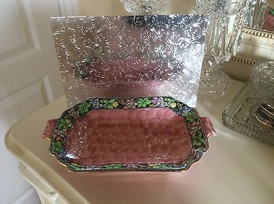 Vintage Large Bowl 1930's MALING Pink Lustre Thumbprint With Columbine Boarder