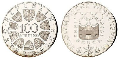 MD.111) AUSTRIA 100 schilling 1976 / 1976 Winter Olympic Games / Silver / Proof