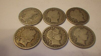 6 - Barber Silver Dimes   Nice Condition