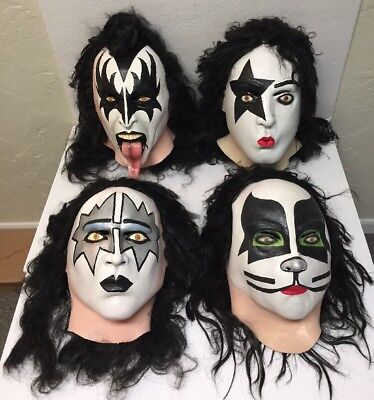Complete Set Of Vintage Kiss Halloween Masks Theatrical Latex Quality