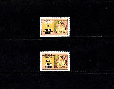 ST LUCIA - 1980 - QUEEN MOTHER - 80th BIRTHDAY - 2 X - MINT - MNH - SET!