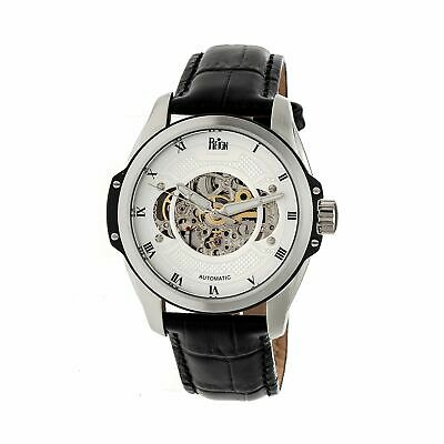 Reign Constantin Automatic Semi-Skeleton Leather-Band Watch, Silver, REIRN4503