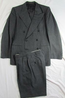 Vtg Early 40s WW2 2 Pc Double Breasted Pinstripe Gangster Suit Jacket & Pants