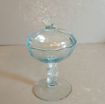 Fostoria Blue Baroque Footed Covered Candy Dish