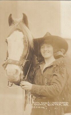 Rppc  Ruth Roach Lady Rodeo Champion Bronco Buster & Her Horse 1919