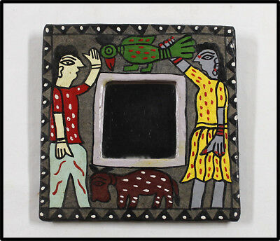 Vintage Mexican Folk Art mirror with painted frame NICE LOOK