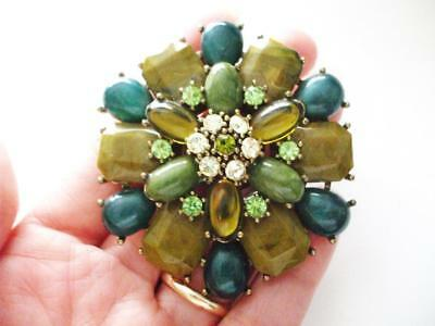Big Lovely Pin W/green & Clear Rhinestones, Olive Green & Teal Acrylic Stones