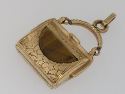 Antique Victorian Gold Fill Travel Bag Purse Tigers Eye Stone Fob Charm Pendant