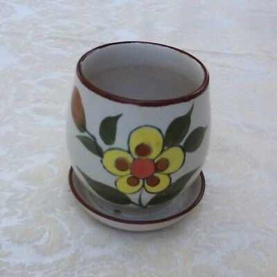 Small VINTAGE Classic 1970s Flower POT Attached SAUCER Hand Painted KOREA Nice