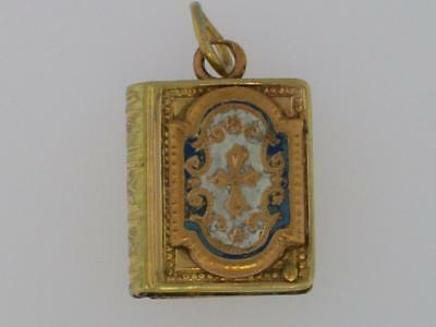 Antique Victorian Gold Fill Enamel Book Slide Out Style Locket Fob Charm Pendant