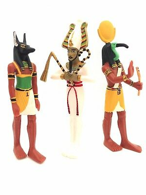 Ancient Egypt Egyptian Figures set of 3 Thoth Anubis and Osiris Plastoy New