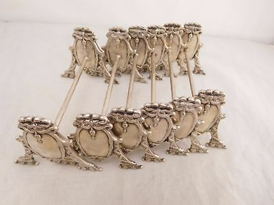 Lot Of 6 Victorian Sterling Silver Repousse Floral Flower Bow Ribbon Knife Rests