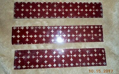 3 Antique Miniature Stain Glass Panels Perfect Antique Doll House Ruby To Clear