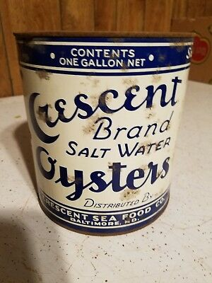 1 Gallon Crescent Brand Salt Water Oysters Tin, As-Is