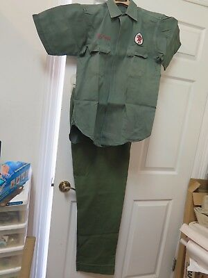 1965 Texaco service station attendant uniform, shirt and pants with LSU wrapper