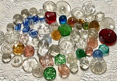 60+ Multi Colored & Crystal Glass Buttons, Transparent, Depression Style