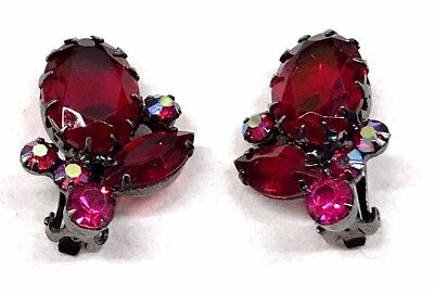 Vintage Ruby Red Cabochon AB Rhinestone Earrings