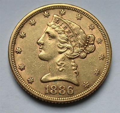 1886 $5 Five Dollar United States American Liberty Head Half Eagle Gold Coin