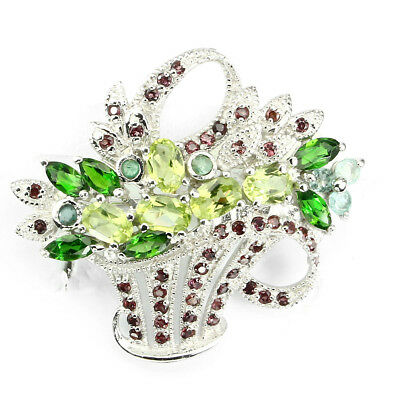 Sublime Oval Peridot Chrome Diopside Emerald Garnet 925 Sterling Silver Brooch