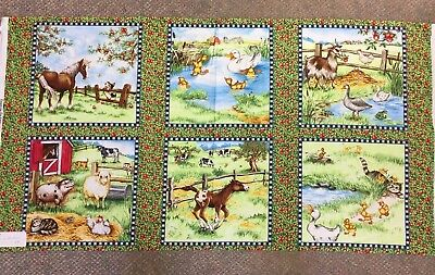 Down on the Farm Animal Pig Cow Horse PANEL 36 x 45 Fabric for SSI - By the Yard