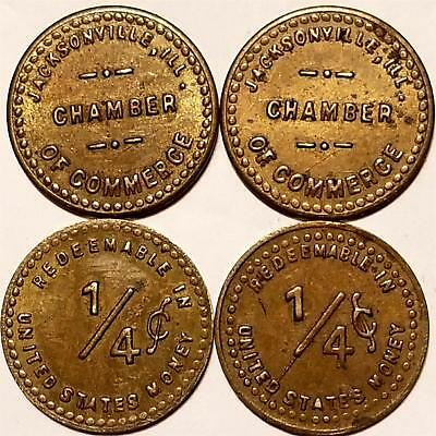 Tax ? Tokens JACKSONVILLE, ILLINOIS CHAMBER COMMERCE gf 1/4 CENTS in U.S. MONEY