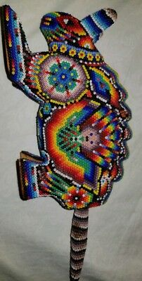 Beautiful Huichol Beaded Armadillo Handcrafted Wooden Sculpture Mexican Folk Art