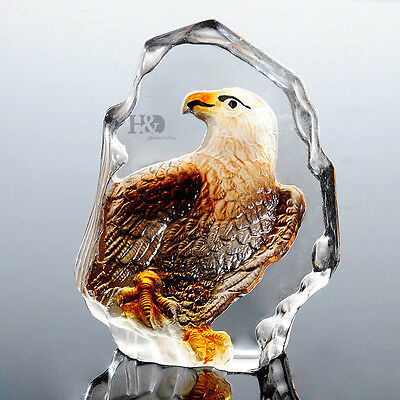 Clear Crystal Paperweight Color Eagle Sculpture Figurine Ornament Decor Gift