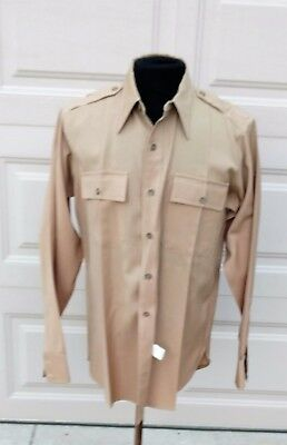 WWII US Army Officer Wool Khaki Shirt size  16 - 16 1/2 x 35 1/2 by Heckler