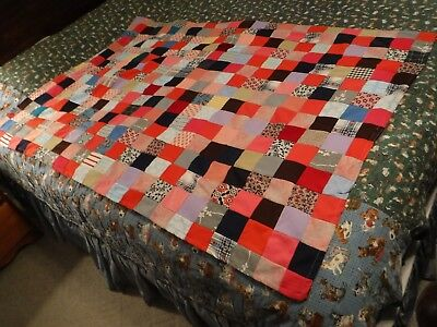 Hand Made Crib or Lap size Patchwork Quilt w/cotton Backing