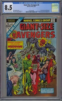 Avengers Giant-Size #4 CGC 8.5 VF+ OwWp Vision Scarlet Witch Wed 1975 NO RESERVE