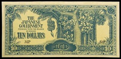 1942-1944 Malaysia $10 Note - UNC - Japanese Occupation Currency M7c