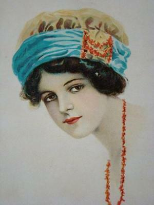 Antique Lithograph Cardboard GLOVE or HANKIE BOX, Flapper Girl, Coral Necklace