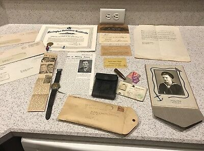 Lot of VTG WW2 WWII Marine personal items. Wounded at Tarawa. Real Hero