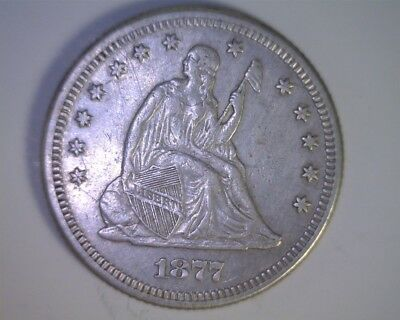 1877 Seated Liberty Quarter - Sharp XF details; old, light cleaning