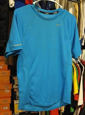 Men's Size Small Blue NIKE RUNNING DRI-FIT ATHLETIC SHORT SLEEVE SHIRT IN EUC