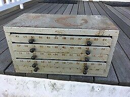 HUOT NUMBER DRILL STORAGE CABINET + Lots of Bits, Chest, Bundle, NO RESERVE!