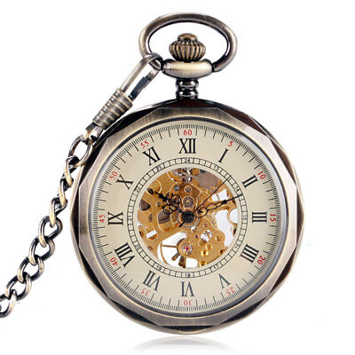 Vintage Bronze Hand Winding Open Face Mechanical Wind Up Pocket Watch Chain Gift