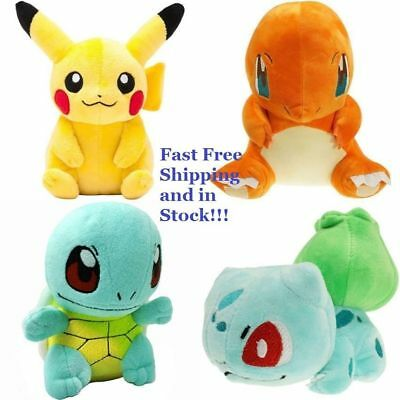 4PCS Pokemon Pikachu Bulbasaur Squirtle Charmander Plush Stuffed Toy Xmas Gifts