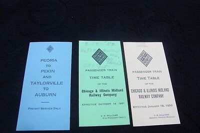 Lot of three 1946 1950 and 1951 Chicago & Illinois Midland Railway Time Tables