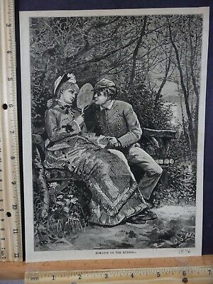 Rare Antique Original VTG 1876 Romance On The Hudson Harpers Engraving Art Print
