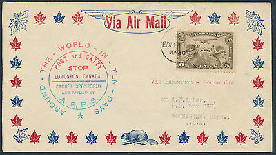 1931 AAMC #3125a Post and Gatty Commemorative Cover, Edmonton Tar Sands Label