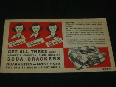 Vintage Kroger Grocery Store Advertising Soda Crackers Insert Retro Lady 1950s