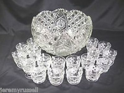 Vintage Beautiful Le Smith Daisy & Button Punch Bowl & 18 Cups