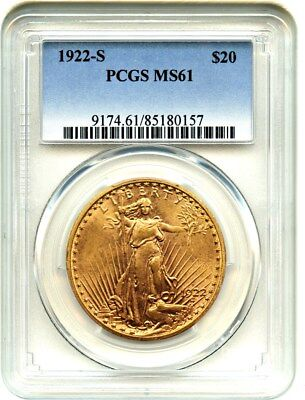 1922-S $20 PCGS MS61 - Scarce Date - Saint Gaudens Double Eagle - Gold Coin