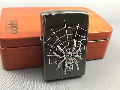 ZIPPO limited Diamond Spider with Skull lighter rare collectible in wooden box